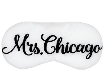 Personalized Mrs adjustable sleep mask • Bride to be sleep mask • Custom name sleep mask • Bridal shower gift • Engagement gift • Mrs to be