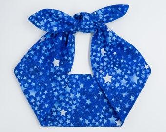 Top knot head wrap • Pin Up Rockabilly head scarf • Retro 50s head wrap tie • Photo prop head wrap • Silver STARS Blue head scarf