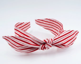 Handmade top knot bow headband • RED STRIPES