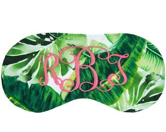 Personalized Monogram sleep mask • Beverly Hills sleep mask • Bridesmaids gift • Palm tree Monstera sleep mask • Palm Springs sleep mask