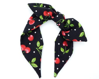 Knotted bow headband • CHERRIES and DOTS