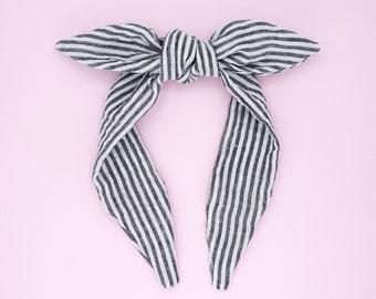 Top knot headband • SEERSUCKER BLACK WHITE