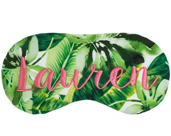Personalized tropical sleep mask  • TROPICAL LEAVES on WHITE