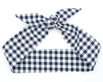 Gingham top knot headband • Knotty bow headband • Knotted headband • Bow tied headband • Handmade top knot bow headband • NAVY GINGHAM