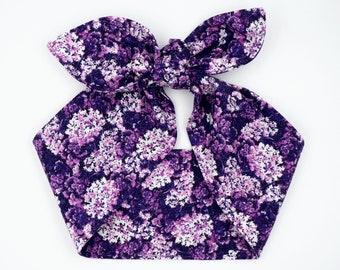 Handmade top knot headscarf headband • PURPLE LILAC