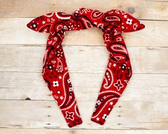 Top knot headband • RED BANDANA