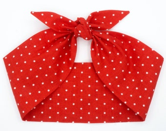 Rosie the Riveter Top knot polka dots headband headscarf