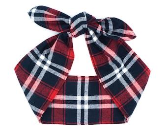 Flannel top knot head wrap • Pin Up Rockabilly head scarf • Retro 50s head wrap tie • Photo prop head wrap • NAVY RED Plaid head scarf