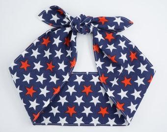 STARS adjustable headband • Cotton headscarf • Top knot headband • Retro head wrap • Pin Up Rockabilly headscarf • 4th of July headband
