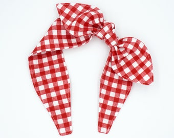 Top knot headband • RED WHITE PLAID