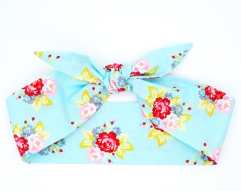 Top knot headscarf • Pinup head wrap • Bow headband • Retro headband • Rockabilly headband • Photo prop headband • Top knot wrap • NOSTALGIA