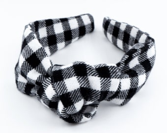 Handmade top knot flannel headband • WHITE BLACK PLAID Flannel