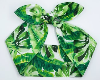 Tropical top knot headscarf • MONSTERA PALM LEAVES