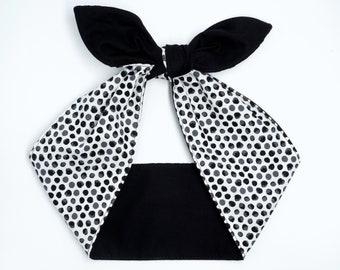 Reversible head wrap • Handmade cotton headband • Top knot headscarf • White Black headband • Birthday gift • Gifts under 10