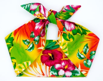 Top knot headscarf • TROPICAL HIBISCUS