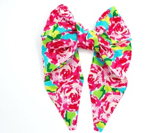 Pinwheel bow headband • Handmade headband • Big bow headband • Bow head wrap • Oversized  bow band • Diva bow band • WATERCOLOR ROSES