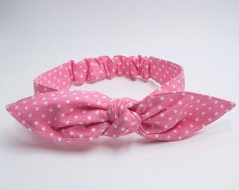 PINK POLKA DOTS headband • Top knot headband • Bow headband • Retro headband • Photo prop headband • Top knot headband • Baby shower gift