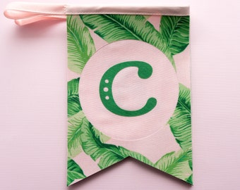 Personalized palm leaves bunting, Wedding bunting, Nursery garland gift, Bunting flags photo prop, Bedroom name banner, Tropical pennant