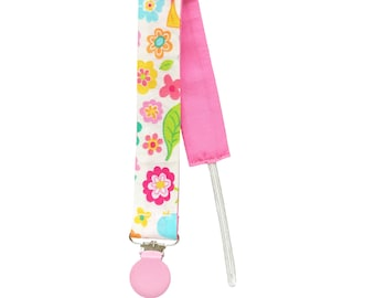 Pacifier clip, Pacifier holder, Flowers fabric holder, Dummy clip, Baby pacifier clip, Binky Clips, Baby Girl pacifier clip - FLORAL