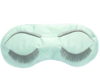 Eyelashes sleep mask • MINT and GRAY