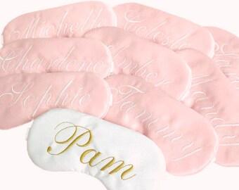 Personalized satin sleep mask • Adjustable sleep mask • Bridesmaids gift • Name sleep mask • Slumber party favor • CUSTOM COLORS