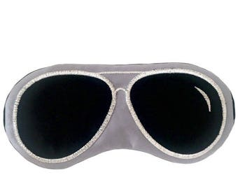 Aviator sunglasses sleep mask • Adjustable sleep mask • Sleep mask for men • Unisex sleep mask • Gift got him • PEWTER GRAY and BLACK