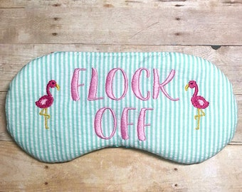 FLOCK Off adjustable sleep mask • Flamingo sleep mask • Bachelorette sleep mask • Final Flamingle party favor