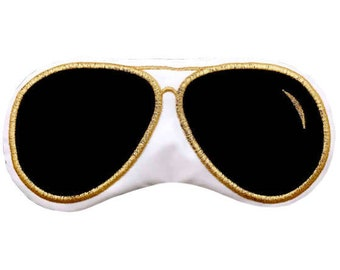 Aviator sunglasses sleep mask • WHITE + BLACK