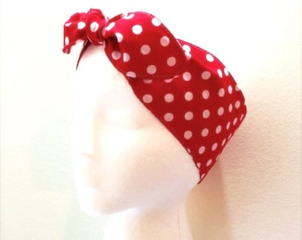 ROSIE The Riveter head wrap • Adjustable head scarf • Polka dots head scarf • We Can Do It Costume head scarf • Polka dots head wrap
