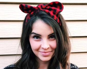 Gingham bow band • Knotty bow headband • Knotted headband • Bow tied headband • Bow band • Handmade top knot bow headband • RED BLACK PLAID