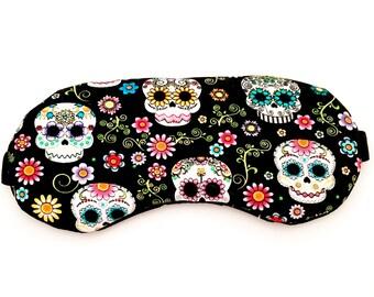 SUGAR SKULL sleep mask • Handmade sleep eye mask • Adjustable sleep mask • Gifts under 10 • Bridesmaids gift • Travel sleep mask