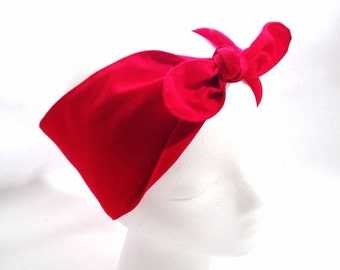 Handmade cotton head wrap • Retro headscarf • Rockabilly head wrap • Pin Up headscarf • Top knot headband • Bridesmaids gift • RED head wrap