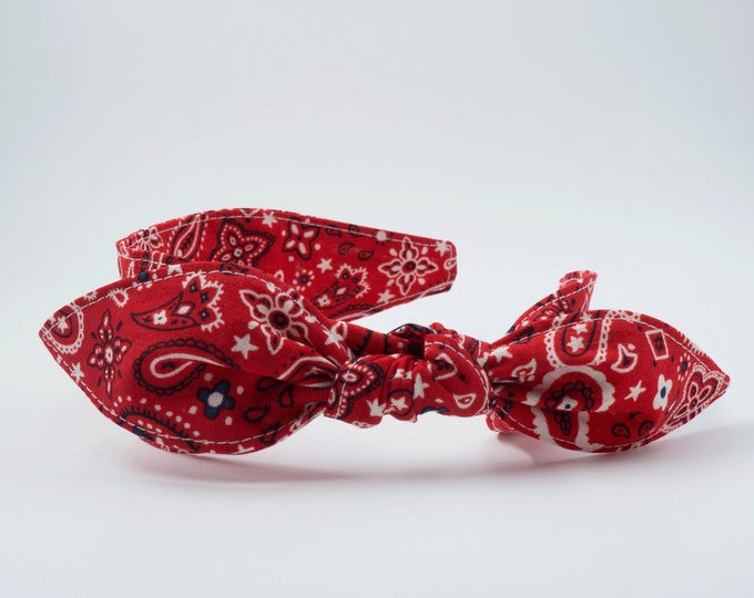 Featured listing image: Classic red bandana headband • Knotty bow headband • Knotted bow headband • Bow tied headband • Bow headband