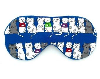 CATS Blue sleep mask • Handmade sleep mask • Gift for grandma • Gift for mom • Boys sleep mask • Bridesmaid gift • Cat mom gift
