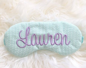 Seersucker personalized sleep mask • Adjustable sleeping mask • Bridesmaids gift • Party favor sleep mask • Monogramed Name gift