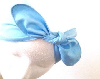 Cotton headband • Retro Rockabilly head wrap • Pin Up headscarf • Top knot headband • Bow headscarf • Adjustable head scarf • BLUE head wrap