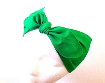Cotton head wrap • Adjustable head scarf • Fabric head wrap • Green head wrap • Top knot head wrap • Bow head scarf • Cotton headband