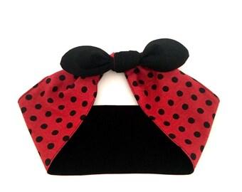 Reversible headwrap • Handmade cotton headband • Top knot headscarf • Red Black headband • Birthday gift • Bridesmaid gifts • Gifts under 10