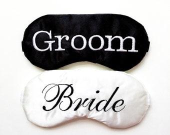 BRIDE GROOM adjustable sleep mask • Engagement gift • Honeymoon gift • Wedding gift • Couple gift • Bridal shower gift