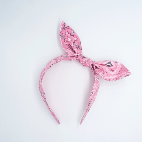 BANDANA bow band • Pin up bandana • Knotted bow headband • Rockabilly  headband • Bow headband • Bandana headband • Top knot headband 6f95366aa8d