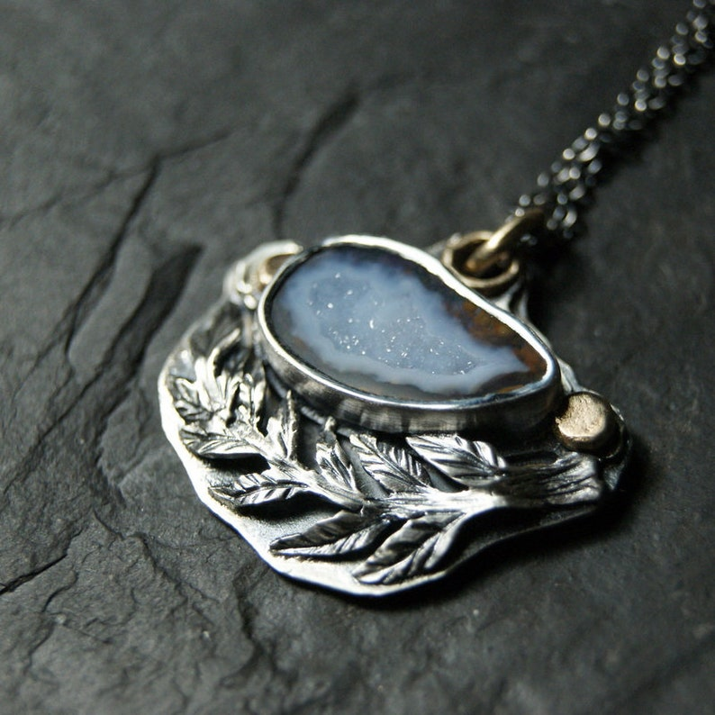 Sterling Silver and 14K Gold...ooak Blue Tabasco Geode and Silver Branch Necklace