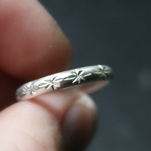 mini celestial line ring Little Sterling Silver Band celestial ring stars ring Line of Stars