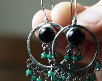 Black Onyx, Forged Silver and Sea Green Beaded Statement Earrings l Sterling Silver