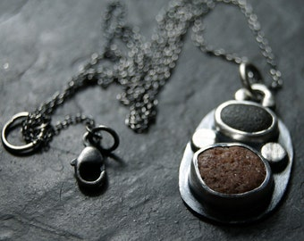 Two Pebbles Necklace in Sterling Silver