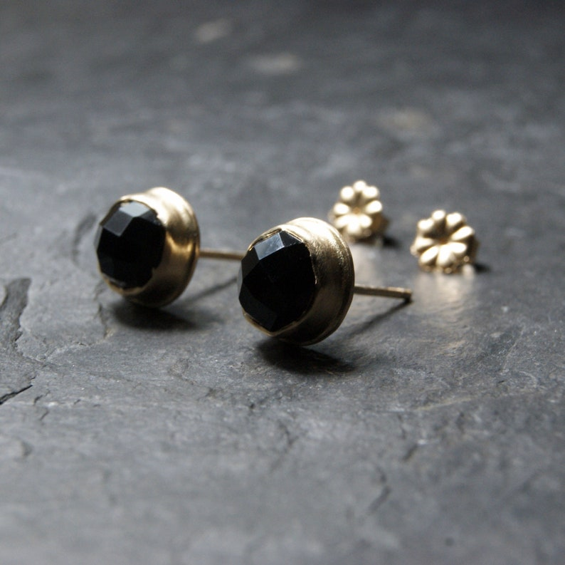 f8f89ea90 Rose-Cut Black Onyx Stud Earrings in 14K Solid Yellow Gold, recycled gold,  post earrings, black and gold
