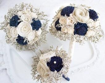Wedding Flowers Bouquets Farmhouse Navy Blue // Wedding Bouquet Bridal Bouquet Burlap Flowers Dried Flowers Bride Bridesmaid Rustic Bouquet