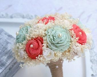 Coral & Mint Bridesmaids Bouquet // Bridal Bouquet, Coral, Mint Green, Sola Flower, Babys Breath, Bridal Flowers, Bridesmaids Bouquets