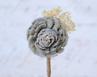 Grey Sola Wood & Babys Breath Wedding Flower // Gray, Boutonniere, Button Hole, Buttonhole, Boutineer, Corsage, Bridal Party, Wedding Party