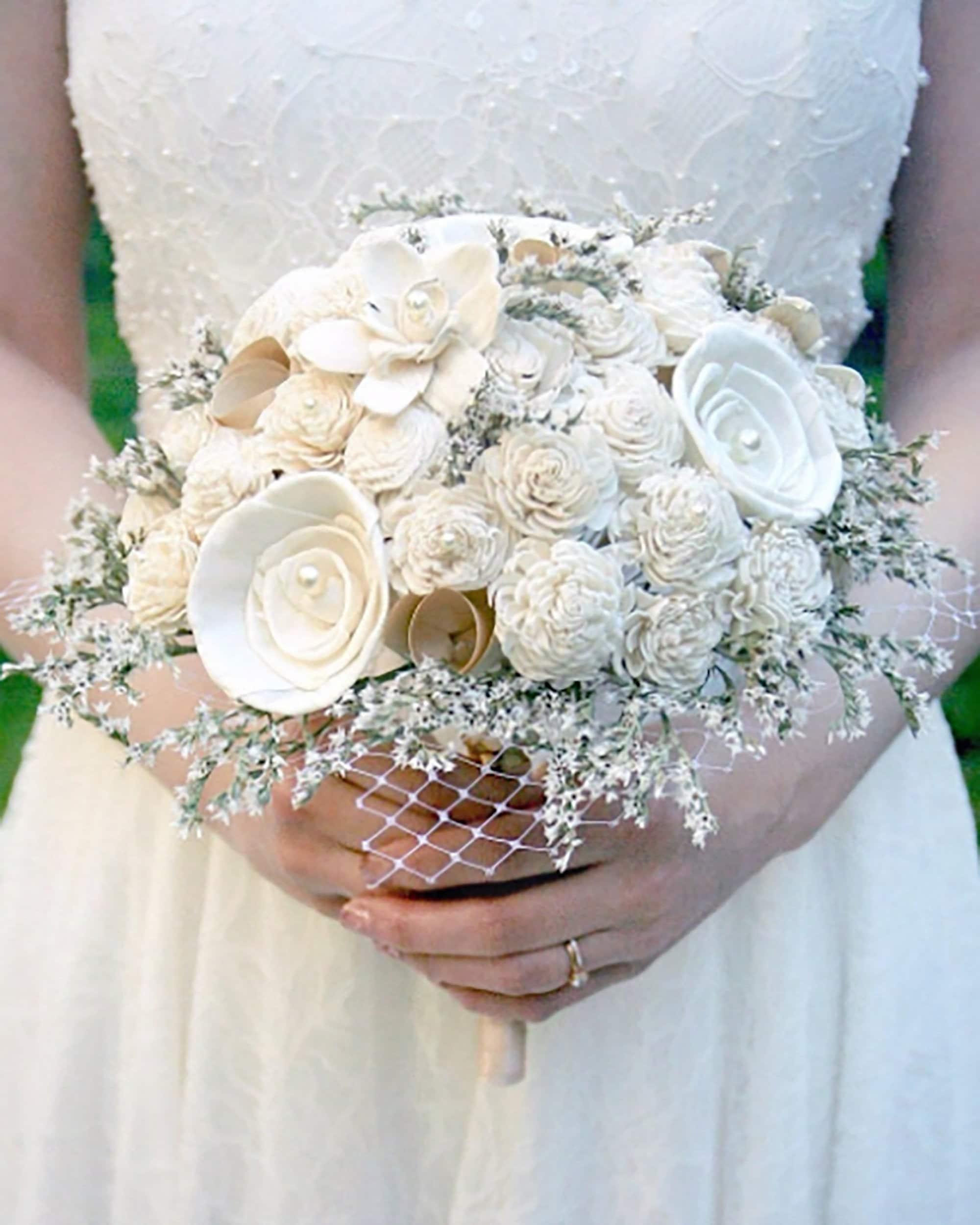 wedding flowers vintage boho style wedding // art deco wedding bouquet  vintage book flowers sola wood bouquet vintage bridal bouquet