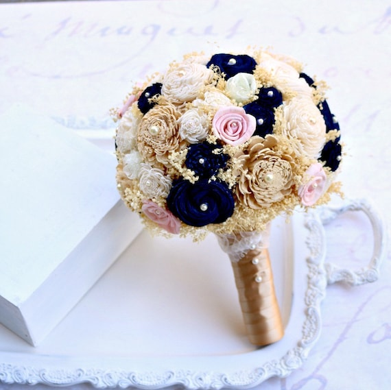Wedding bouquet gold navy pink bridal bouquet navy etsy image 0 mightylinksfo